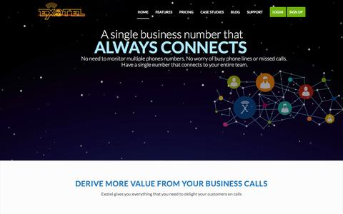 Screenshot of Home Page exotel.in - Cloud Telephony for Businesses - Virtual PBX, Hosted IVR, India - captured Dec. 19, 2015