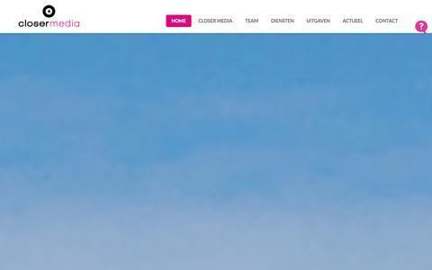Screenshot of Home Page closermedia.nl - Closer Media - dé uitgever in Drenthe - captured Oct. 2, 2014