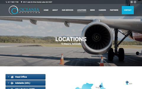 Screenshot of Locations Page oceaniaaviation.com - Locations – Oceania Aviation - captured Dec. 11, 2018