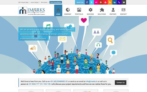 Screenshot of Home Page imarks.in - A Digital Marketing Hub for the latest Internet Marketing, Media and Technology Trends. - captured Sept. 23, 2014