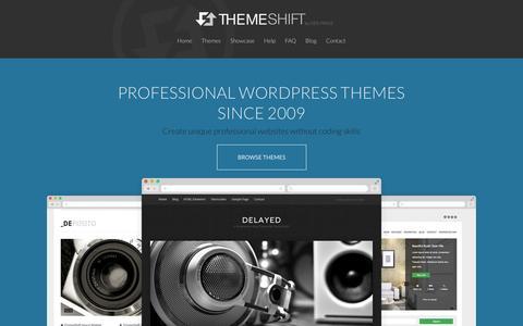 Screenshot of Home Page themeshift.com - Professional WordPress Themes → ThemeShift - captured Sept. 22, 2014