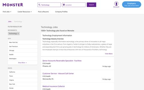 Screenshot of Jobs Page monster.com - Technology Jobs - Search Technology Job Listings   Monster.com - captured May 17, 2017