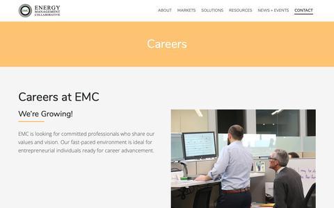 Screenshot of Jobs Page emcllc.com - Careers :: Energy Management Collaborative, LLC - captured Sept. 28, 2018