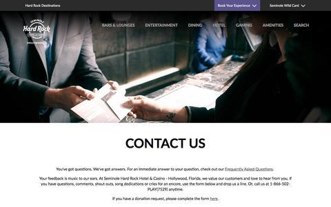 Screenshot of Contact Page seminolehardrockhollywood.com - Contact Us | Hard Rock Hollywood - captured Oct. 15, 2019