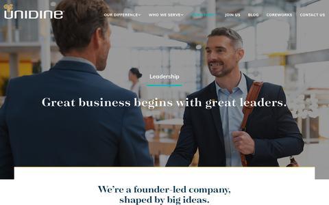 Screenshot of Team Page unidine.com - Leadership | Our Story | Unidine - captured Oct. 16, 2019