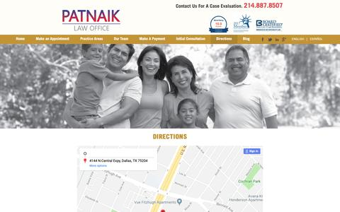 Screenshot of Maps & Directions Page patnaiklaw.com - We are located at 4144 N Central Expy, Dallas, TX 75204 | Visit us today - captured Sept. 27, 2018