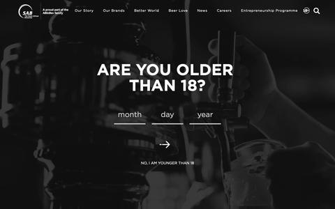 Screenshot of FAQ Page sab.co.za - South African Breweries - captured Oct. 18, 2018