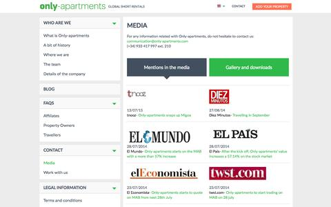 Screenshot of Press Page only-apartments.com - Media | Only-apartments - captured Nov. 23, 2015