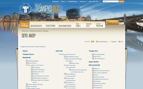 Screenshot of Site Map Page tempe.gov - City of Tempe, AZ : Site Map - captured Sept. 22, 2016