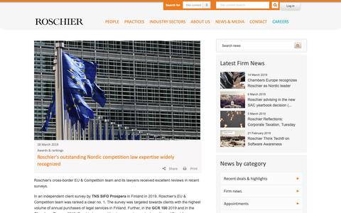 Screenshot of Press Page roschier.com - Roschier's outstanding Nordic competition law expertise widely recognized | Roschier - captured March 18, 2019