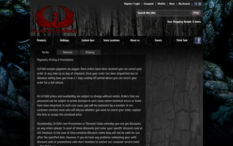 Screenshot of Privacy Page Support Page Terms Page lirchild.com - Customer Service - captured Oct. 10, 2014