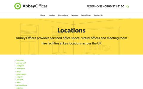Screenshot of Locations Page abbeyoffices.com - Serviced Offices in London, Berkshire, Hampshire, Surrey, Manchester, Glasgow and Edinburgh - captured Dec. 17, 2018