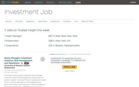 Screenshot of Jobs Page thetrustedinsight.com - Trusted Insight |   Investment Job |  Trusted Insight Platform - captured Sept. 22, 2018