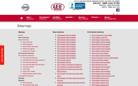 Screenshot of Site Map Page leenissan.com - Lee Nissan   New Inventory for sale in Wilson, NC 27896 - captured Feb. 15, 2018