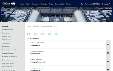 Screenshot of williamhillplc.com - William Hill Plc: 2018                 - Financial Calendar                 - Investors - captured Jan. 4, 2018