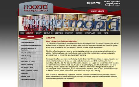 Screenshot of About Page monti-inc.com - Sheet Metal Fabrication, CNC Water Jet Cutting, CNC Machining - Monti Incorporated Cincinnati Ohio - captured Oct. 7, 2014