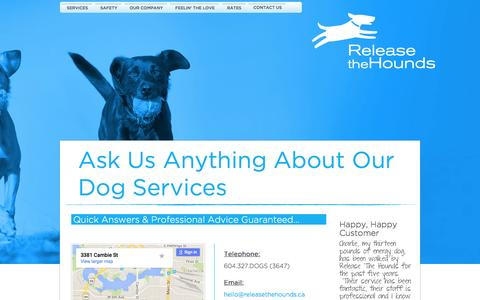 Screenshot of Contact Page releasethehounds.ca - Dog Services Vancouver | Release The Hounds - captured Feb. 14, 2016