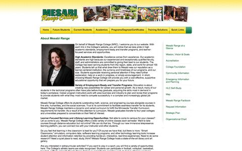 Screenshot of About Page mesabirange.edu - Mesabi Range College    About Mesabi Range - captured Oct. 27, 2014