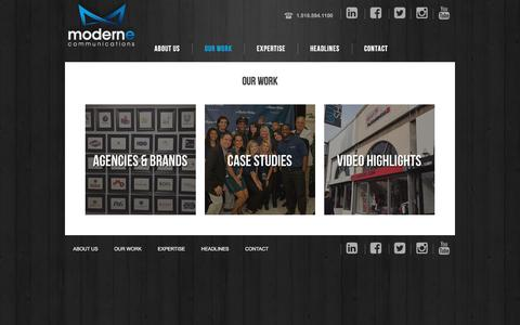 Screenshot of Case Studies Page modernecommunications.com - Our Work - captured March 19, 2016