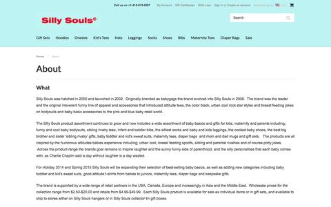 Screenshot of About Page sillysouls.com - About Us | Urban Baby Clothes | Baby Store | SillySouls.com - captured Feb. 23, 2016