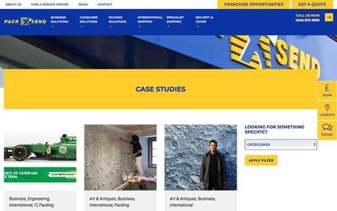 Screenshot of Case Studies Page packsend.co.uk - Case Studies - Pack and Send - captured Sept. 26, 2018