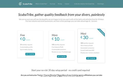 Screenshot of Pricing Page scubatribe.com - Using the ScubaTribe review and rating system is easy and highly cost effective - captured Sept. 10, 2014