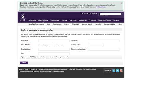 Screenshot of Signup Page cii.co.uk - Before we get started - captured June 26, 2017