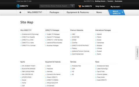 Screenshot of Site Map Page directv.com - Site Map - captured Feb. 21, 2017