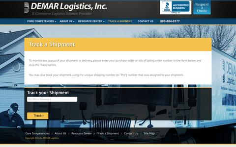 Screenshot of Menu Page demarlogistics.com - DEMAR Logistics > Track a Shipment - captured July 31, 2016