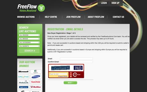 Screenshot of Signup Page freeflowauctions.com - FreeFlow Inventory - FreeFlowAuctions.com - captured Dec. 25, 2016