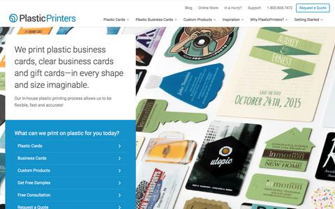 Screenshot of Home Page plasticprinters.com - We print on plastic, from plastic business cards to gift cards | Plastic Printers - captured Jan. 15, 2016