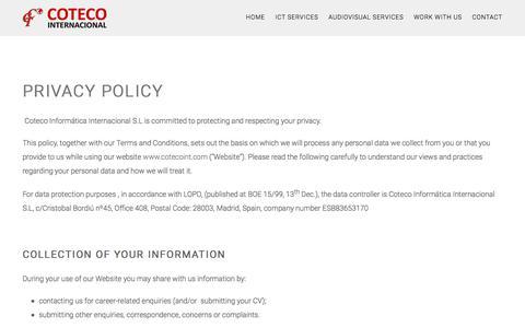 Screenshot of Privacy Page cotecoint.com - Privacy – COTECO Internacional - captured July 9, 2017