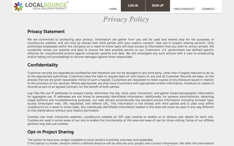Screenshot of Privacy Page localsource.us - LocalSource |   Privacy Policy - captured Nov. 3, 2019