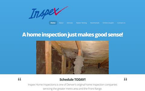 Screenshot of Home Page inspexhomeinspections.com - Inspex - Home Inspections - captured Sept. 30, 2014