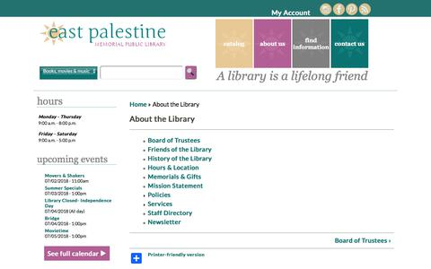 Screenshot of About Page east-palestine.lib.oh.us - About the Library | East Palestine Memorial Public Library - captured July 2, 2018