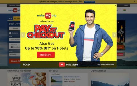Screenshot of Home Page makemytrip.com - MakeMyTrip, India's No 1 Travel Site | Book Flights, Hotels, Holiday Packages & Bus Tickets - captured Oct. 5, 2016