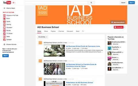 Screenshot of YouTube Page youtube.com - IAD Business School  - YouTube - captured Oct. 23, 2014
