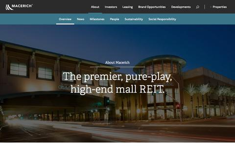 Screenshot of About Page macerich.com - Macerich | About - captured Nov. 20, 2015