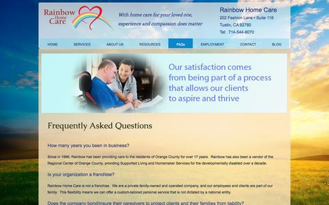 Screenshot of FAQ Page rainbowhomecare.com - Frequently Asked Questions - captured Dec. 19, 2016