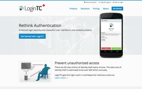 Screenshot of Home Page logintc.com - LoginTC - Secure two-factor authentication - captured Oct. 3, 2014