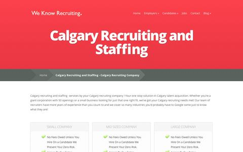 Screenshot of Pricing Page calgaryrecruitingcompany.com - Calgary Recruiting and Staffing - Calgary Recruiting Company | Calgary Recruiting Firm | Recruitment Agency | Staffing Firm | Alberta Recruiting - captured Sept. 27, 2014