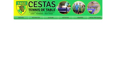 Screenshot of Home Page sagctt.fr - SAG Cestas Tennis de table - captured Oct. 3, 2014