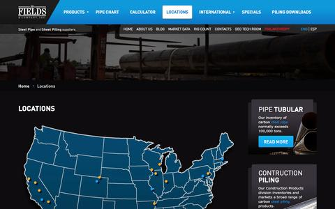 Screenshot of Locations Page jdfields.com - Locations | JD Fields | Steel Tube Manufacturers in USA | JDFields.com - captured Sept. 28, 2016