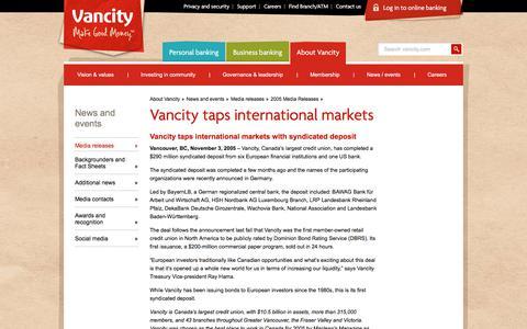 Screenshot of Press Page vancity.com - Vancity taps international markets - Vancity - captured Nov. 22, 2017