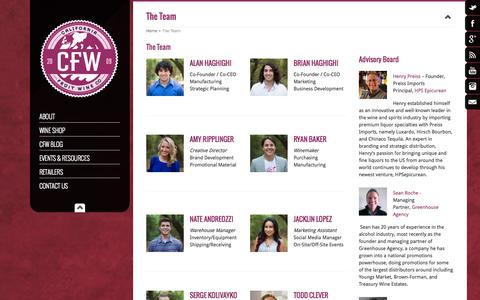 Screenshot of Team Page californiafruitwine.com - The Team - California Fruit Wine - captured Oct. 1, 2014