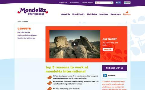 Screenshot of Jobs Page mondelezinternational.com - Careers - captured Sept. 22, 2014