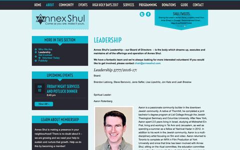 Screenshot of Team Page annexshul.com - Annex Shul   » Leadership - captured May 30, 2017