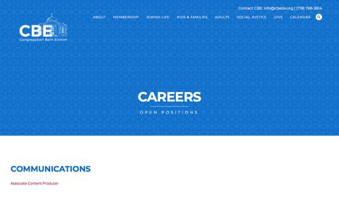 Screenshot of Jobs Page cbebk.org - Careers | Congregation Beth Elohim - captured July 18, 2018
