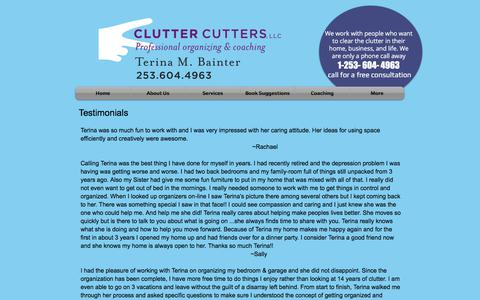 Screenshot of Testimonials Page cluttercutterswa.com - Clutter Cutters - Testimonials - captured Aug. 5, 2017