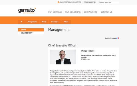Screenshot of Team Page gemalto.com - Gemalto management - captured March 8, 2018